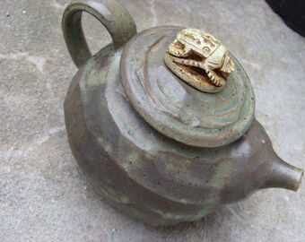 Upcycled Handmade Vintage Signed Clay Teapot with Lid Egyptian Scarab Beetle