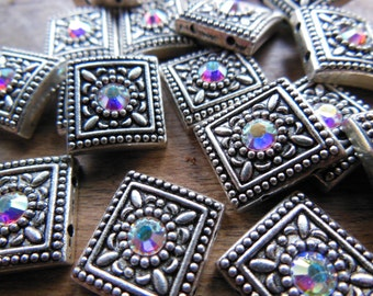 Lot of 19 Large Silver Tone Metal Square Focal Beads with Aurora Borealis Rhinestones