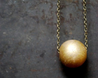 Orbit Wood Bead Necklace - Golden  Globe Wood Necklace - Boho Necklace - Single Sphere