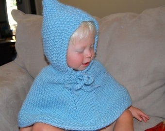 Hand Knit  Baby Blue poncho with hood  pure soft  wool Pick size. Halloween costumes   Proudly made in America Ready to ship