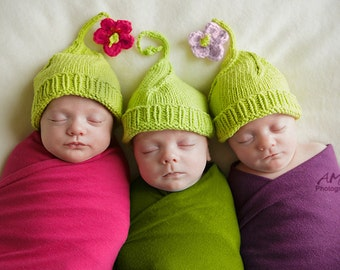 3 peas in a pod, cotton seamless hats for triplets boys or girls, Newborn-3 months. Fab Fall Fashion Perfect photo prop