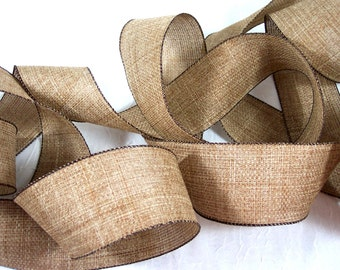 Ribbon Brown Burlap Rustic Style with Wire Edges and Wide Width for Wedding, Fall, Halloween Decor