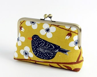 Bird and floral clutch, BagNoir, Wedding clutch,Chartreuse, Bridesmaid gift idea, Evening purse, Bridesmaid clutch