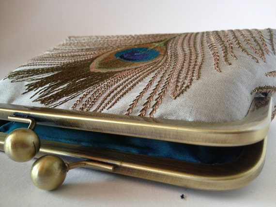 SAMPLE SALE Silk embroidered peacock feather clutch purse. Make up bag