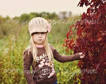 Tan Crocheted Newsgirl Cap, Newsboy Hat for Girls, Tan, Pink, Cotton, Newborn to Adult