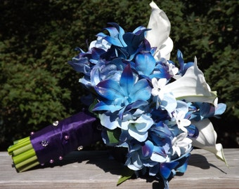 Bridal bouquet with Blue galaxy orchids, hydrangea, real touch medium calla lilies and jeweled stephanotis bouquet, choose your orchid