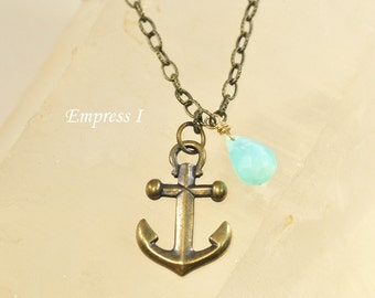 Anchor Necklace, Antique Brass,  Peruvian Blue Opal, Necklace, Nautical Jewelry, Jewelry For Women, Charm Necklace, Gift, Anchor Pendant