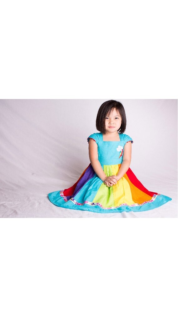 Rainbow Dash My Little Pony MLP Inspired Cap Sleeve Dress Made to Order