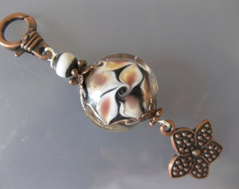 Handmade Lampwork & Tibetan Flower Zipper Pull, Purse Charm