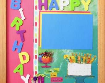 BLOW THE CANDLES Premade Memory Album Page (Natural Veneer Shadow Box Frame Sold Separately)