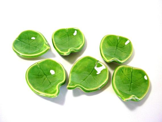 ceramic leaf dish ring holder candle holder spoon rest tea bag holder gift home decor handmade pottery Spring Green ONE LEAF