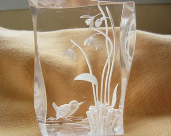 Beautiful Bird and Flower Lucite Carving