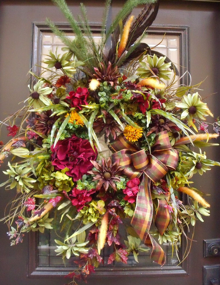 Autumn wreaths fall wreaths for door hydrangea and peony Fall autumn door wreaths