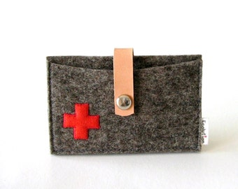 Business Card Holder-Credit Card case.Grey.Red Swiss Cross- Handmade- Eco Friendly - industrial