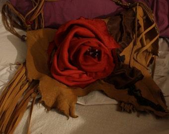 showdiva designs Asymmetrical Leather Bag Purse FriNgE N Beads n Hand Sculpted Flower