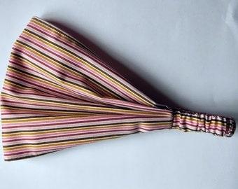 Yoga Headband Cotton Bandana - Riley Blake, So Sophie, Stripe in purple fabric