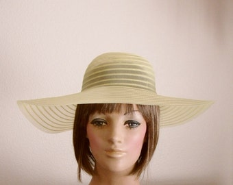 Floppy Hat Wide Brim Sheer Sun Hat Beach Bridesmaid Crinoline Yellow Retro Vintage 60's 70's