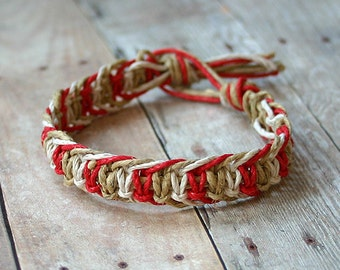 Alternating Half Knot Hemp Bracelet Red Natural White