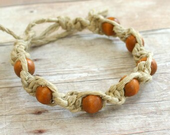 Surfer Surf Macrame Hemp Bracelet Natural Twist Wooden Beads Adjustable