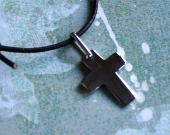 Leather Surfer Necklace With Stainless Steel Cross 2mm Cord