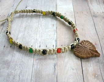 Hemp Rasta Necklace With Indian Rosewood Leaf Pendant