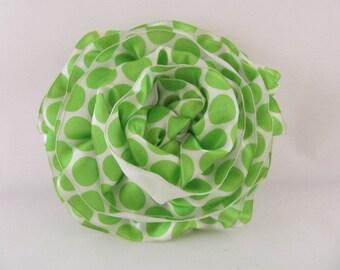 Ribbon Rose Pin-Hair Clip-Brooch-Lime Green-White-PolkaDots