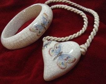 Ceramic Butterfly Heart Pendant Bangle Bracelet Demi Parure – 1980s Jewelry