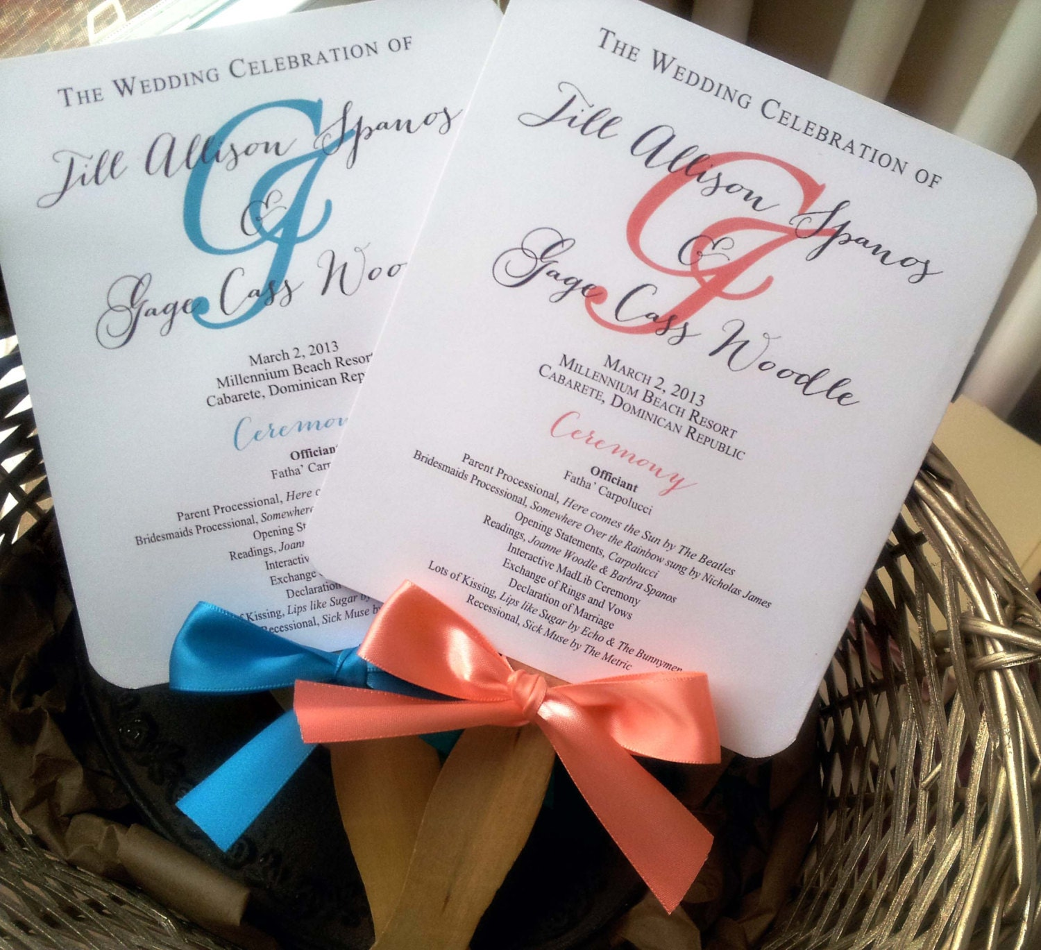 Personalized Wedding Program Fans Coral or by ...