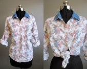 Floral Denim Shirt Vintage Blouse Top White 1990s Grunge Large