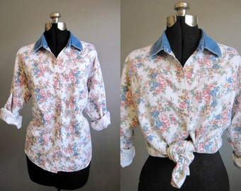 Floral Denim Shirt Vintage Blouse Top White 1990s Grunge Large