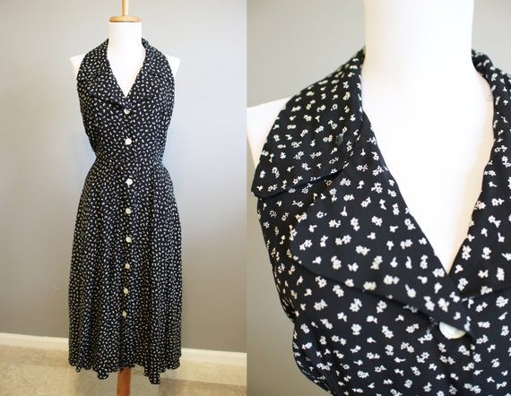 Rockabilly Dress Vintage Black and White Floral Collar Small