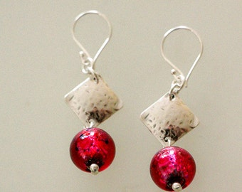 Rose Fuchsia Encased Flowers lamp work Earrings with Hammered sterling silver squares
