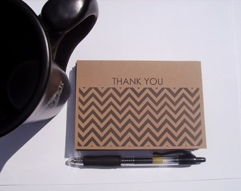 Chevron Thank You Cards - Kraft Chevron Thank You Notes, Modern Thank You Cards, Charcoal Grey Chevron Rustic Earthy, Neutral Thank You Set