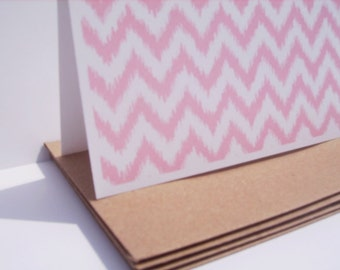 Chevron Note Cards - Pink Chevron Geometric Stationery, Chevron Thank You Notes, Pink Modern Note Card Set, Mod Pale Pink Notes Ikat Design