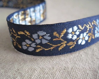 BLUE and Metallic GOLD on Navy Dogwood Ribbon