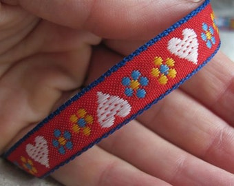 White Hearts and Blooms on RED woven jacquard ribbon
