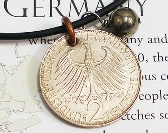 Germany, Vintage Coin Necklace - - Black Eagle - - World Travel - Europe - Old Money - Large Coin - Recycled