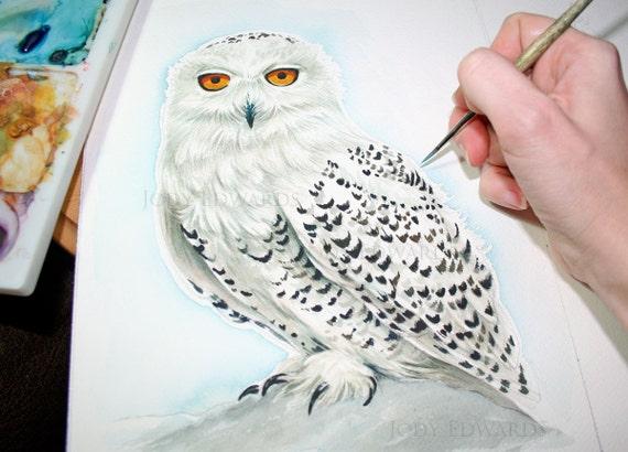 Snowy Owl Painting Original Watercolor Painting