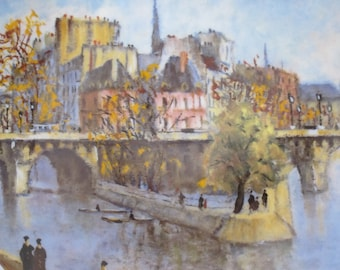 """Limoges France Louis Dali """"La Pointe du Vert Galant et le Pont Neuf"""" Collector Plate French Porcelain Plate Vintage Plate French Decor Paris"""