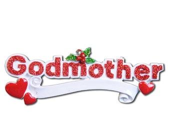 Personalized Christmas Godfather,Godmother Ornament-, Newborn, Baby Shower , Christening Gift