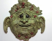 CECIL --the Garden Goblin Wall Plaque, OOAK Handsculpted from Polymer clay