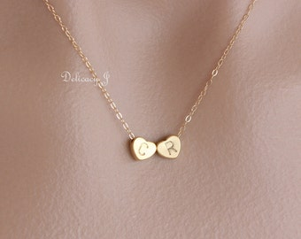 Double gold heart necklace Two initial heart charm necklace, Monogram necklace, His and her, Friendship necklace, Mother daughter Christmas