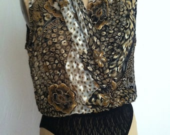Black Gold and Ivory Exotic Floral Sleeveless Vintage CACHE Bodysuit S