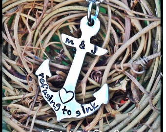 Personalized Hand Stamped Anchor necklace