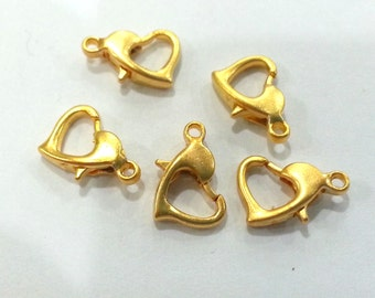 10 Pcs. (10x6 mm)  Lobster Clasps  Findings Gold Plated Metal G2000