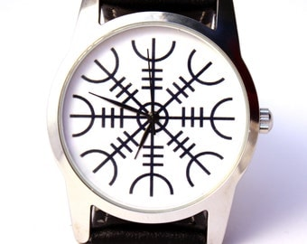 Watch Viking symbol Aegishjalmr Helm of awe protection symbol