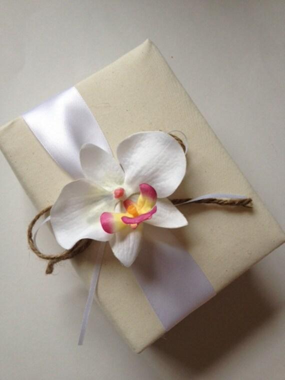 Hawaiian Wedding Album - Tropical White Phalaenopsis Orchid, White Ribbon, Rustic Ribbon and Rope Bow- Handmade