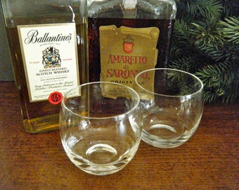 Set of 2, Large Double Roly Polys, Cocktail Scotch Glass, Clear Glass, Mad Men Style, Great Gift for Guy, Brother, Father or Your Home Bar