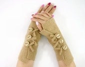 recycled wool fingerless gloves arm warmers fingerless mittens wrists warmers arm cuffs  camel beige fall eco friendly tagt team teamt