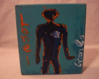 LONE 1 Folk Art Outsider Art Rongo Painting on Cigar Box